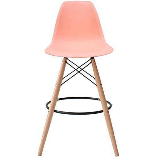 2xhome - Pink - 25' Sels with Back and armleat Height DSW Molded Plastic Bar Stool Modern Barstool Counter Stooss Natural Legs Wood Eiffel Legs Dowel-Leg