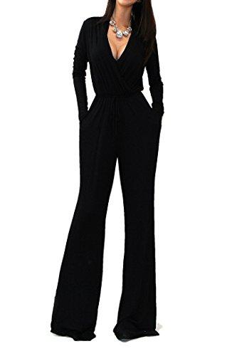 Vivicastle Women's USA Sexy Wrap Top Wide Leg Long Sleeve Cocktail Knit Jumpsuit (Large, Black)
