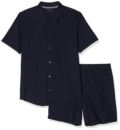Seidensticker Herren Pyjama kurz Zweiteiliger Schlafanzug, Blau (Nachtblau 804), Medium (Herstellergröße: 050)