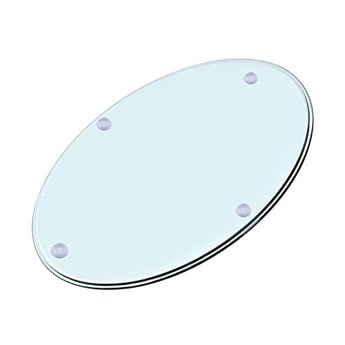 WXZX Tablero Superficie Redonda Transparente Mesa De Cristal Redondo 70cm, 80cm, Escritorios De Oficina, Templado Material De Vidrio, Resistente Al Calor Y Al Frío Rápidos (Size : 40 cm (16 Inches))