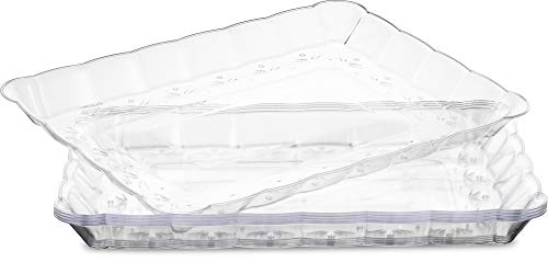Plasticpro Plastic Serving Trays - Serving Platters Rectangle 9X13 Disposable Party Dish Crystal Clear Pack of 4
