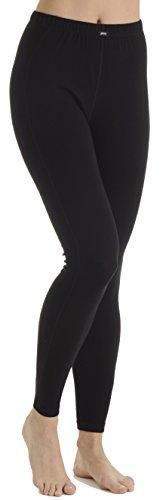 Dames thermische onderbroek lang, thermische broek skibroek voor dames in zwart (XXL)