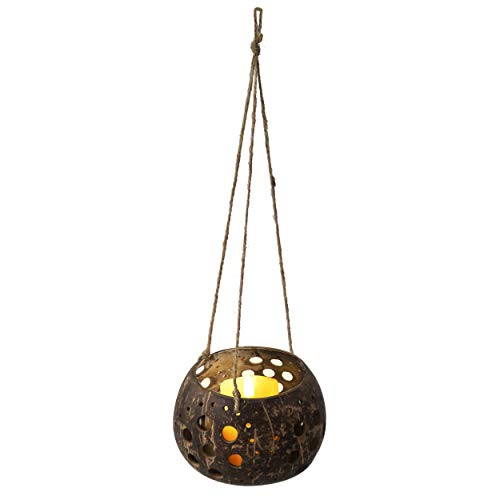 MadeTerra Coconut Hanging Candle Holder Lantern Birdcage Shape Ceiling Candle Tealight Holders, Decorative Rustic Coco Jar Candle Light Holder for Garden Spa Dining Party Home Decor (Flower Pattern)