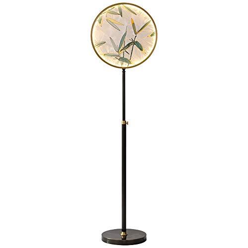 Lámpara de pie, cristal esmaltado, color cobre, estilo chino moderno, para salón, dormitorio, estilo chino creativo, lámpara de mesa vertical de latón 25 W