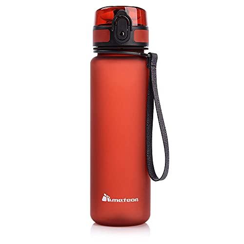meteor Bottiglia Acqua Senza BPA Borraccia per Bambini Adolescenti e Adulti Ideale per Bici Sportivo Campeggio Scuola Ufficio Palestra Plastica Tritan Diverse Dimensioni e Colori (500ml, Rosso)
