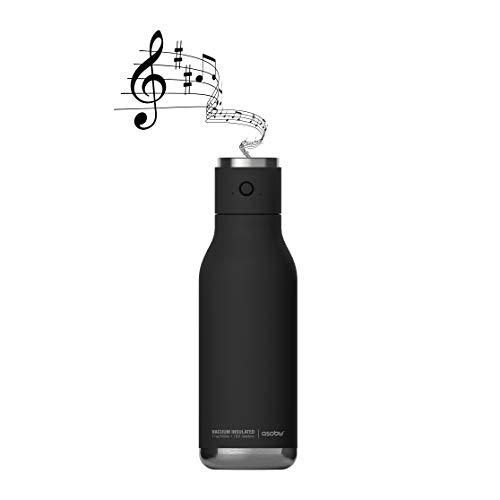 Asobu Wireless Speaker Double Wall Insulated Stainless Steel Water Bottle 17 Ounce (Black)