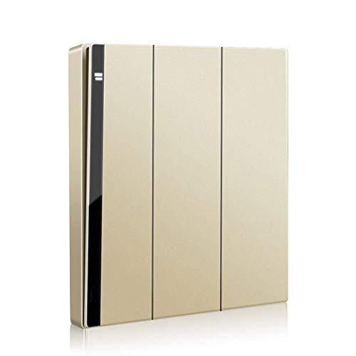 Cfbcc Interruptor de panel de pared dorado tipo 86 simple o doble control, panel plano, para hoteles, restaurantes, rocker, interruptor sin borde con indicador LED (color: 3 marchas, 1 vía)