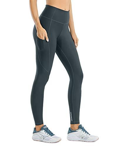 CRZ YOGA Damen Winter Fleece Futter Thermo Sport Leggins Höhe Taille mit Taschen Fitnesshose-71cm Melanit 38