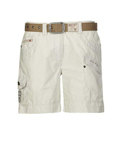 G.I.G.A. DX Damen Shorts Hira, Bermuda mit Gürtel, kurze Hose für Frauen mit praktischen Taschen, weiß, 42