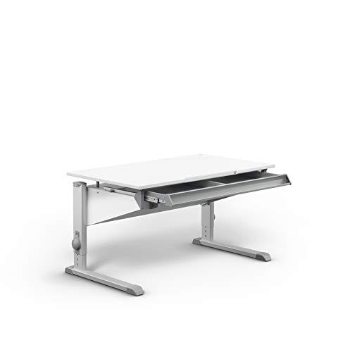moll Sprinter Kinderschreibtisch mit Schublade, Holzwerkstoff, Weiß, 117,20cm × 71cm × 53-82cm