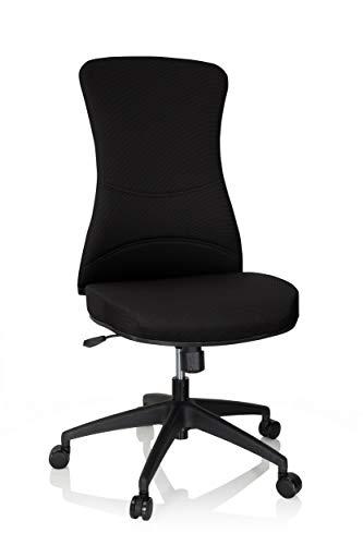 hjh OFFICE 760012 Profi Bürostuhl Office XT Netzstoff Schwarz Drehstuhl ohne Armlehnen, breite Sitzfläche, höhenverstellbar