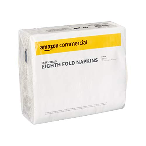 AmazonCommercial Essentials Eighth Fold Dinner Napkins, 124 Napkins per Pack, 24 Packs