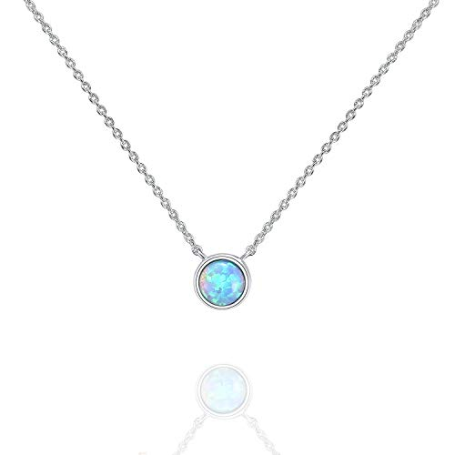 PAVOI 14K White Gold Plated Round Created Blue Opal Necklace   Opal Necklaces for Women