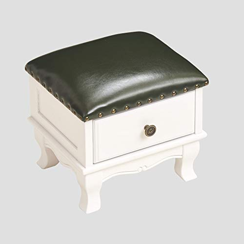 Love Home Genuine Leather Footstool,Solid Wood Drawer Padded Seat American European Footrest Storage Ottoman Retro Step Stool Entrance Q 35 * 30 * 30cm(14 * 12 * 12inch)