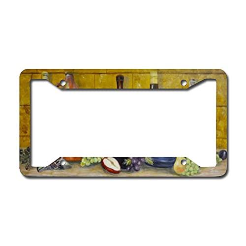 Placas de licencia delanteras personalizadas, marco de aluminio para placa de matrícula de vidrio de vino de maíz para coche de 6.3 x 12.2 pulgadas