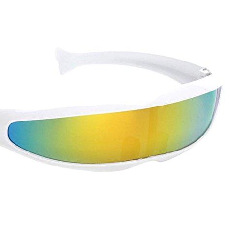 Sharplace 3xFuturistic Visera de Lente Estrecha Gafas de Sol Gafas de Sol Marco Blanco Amarillo Espejado