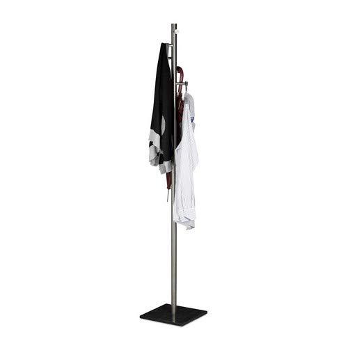 Relaxdays Pierre, vrijstaande garderobe, kledingrek, hBT 180 x 30 x 30 cm kapstok staal/marmer, zwart, 30 x 30 x 180 cm