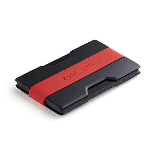 Radix One Slim Wallet (Black/Red) - Minimalist Front Pocket Ultralight Thin Polycarbonate Wallet Money Clip
