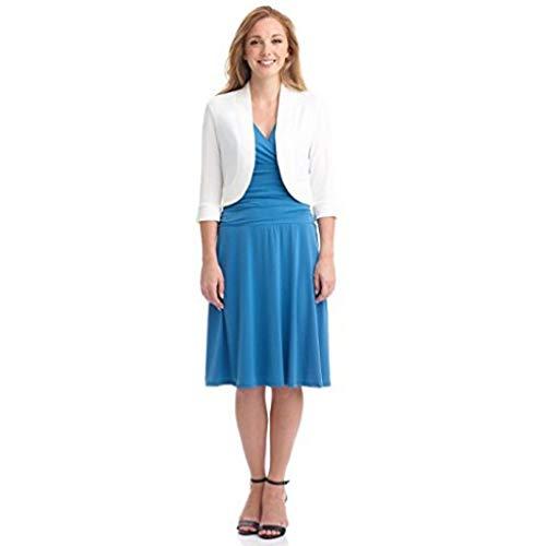 Xmiral Anzug Mantel Damen Einfarbig Kurz Kragenlos Blazer Mini Büro Arbeits Jacke Winter Strickjacken Steppjacke Langarm Übergröße Sweatjacke(Weiß,XL)
