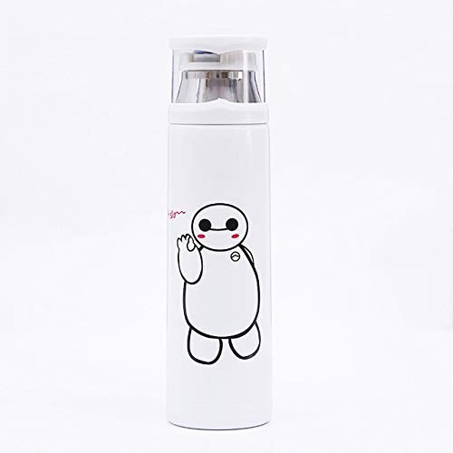 ALYHYB 350/500 ml Cartoon Double Wall Edelstahl-Thermosflasche Wasser Vacuum Netter Thermo-Becher for Kinder Paar Geschenk, Minions, 500ml huangcui (Color : Baymax White, Size : 500ml)