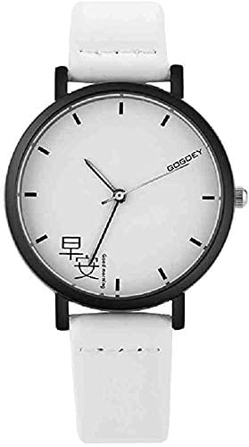 JZDH Mano Reloj Reloj de Pulsera Moda Casual Relojes de Pulsera de Cuarzo Mujeres Mira los Amantes del Reloj de Cuero Unisex Minimaltalist Clock Pointer Watch Relogio Relojes Decorativos Casuales
