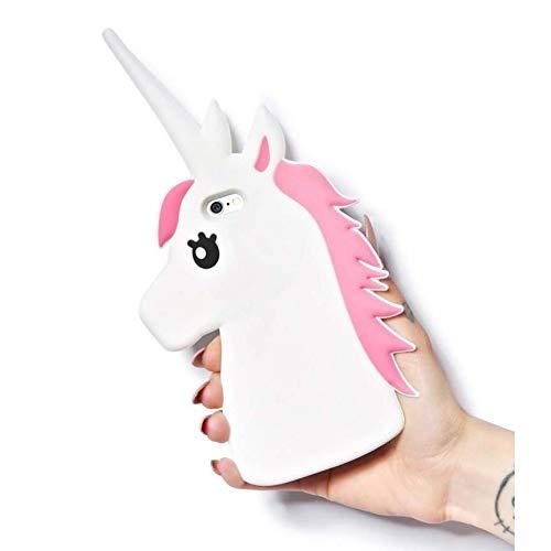 mascreaciones Funda Carcasa Silicona 3D Unicornio Compatible con Samsung, Huawei, iPhone, LG. (Huawei P9 Lite, Blanco)