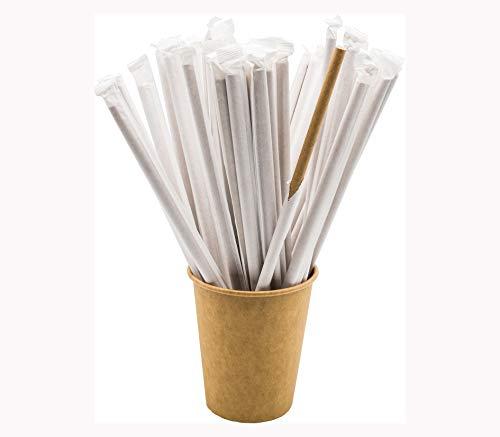 Don Palillo - 250 cannucce di carta, confezionate singolarmente, carta kraft, biodegradabili, 200 x 6 mm