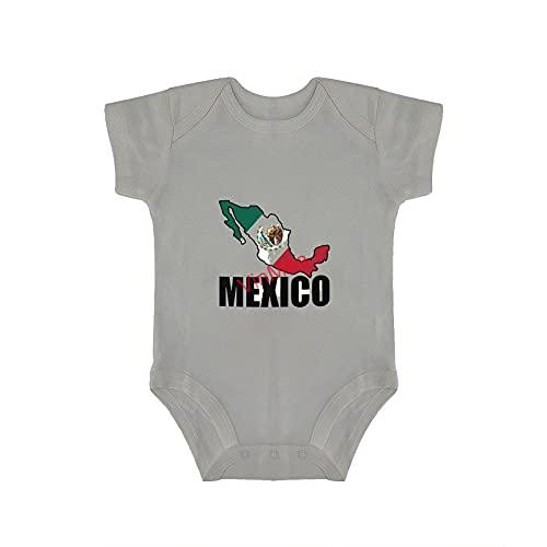 VinMea Body de bebé divertido traje de manga corta traje de México contorno de la bandera mexicana para bebés y niños dulces (0-18 meses)
