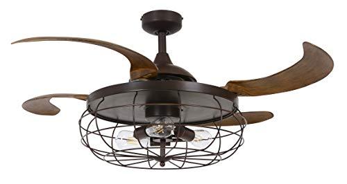 Fanaway Industrie Deckenventilator mit 4 ausfahrbaren Flügeln, 3 Geschwindigkeiten, inkl. LED Leuchtmitteln und Fernbedienung (Schwarz) (Schwarz) (ORB)