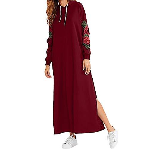 Hoodies Kolylong Damen Elegant Rose Stickerei Pullover Kleid mit Kapuze Herbst Winter Warm Sweatshirt Lang Kapuzpulli Sweatjacke mit Tasche Jumper Outwear Mantel Sportkleid Bluse Top (XL, Rot)