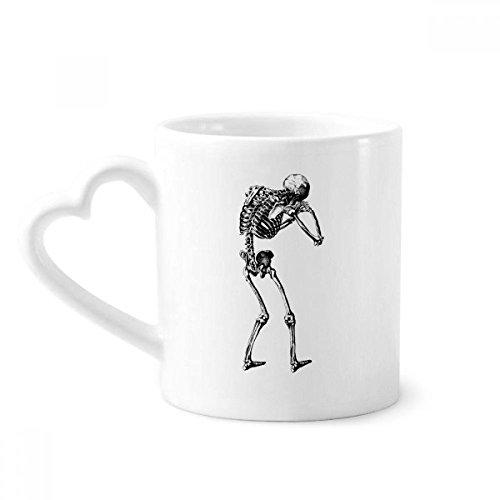 beatChong Rückseite Menschliches Skelett Skizze Kaffeetasse Keramik Keramik-Cup mit Herzen Griff 12 Unzen Geschenk