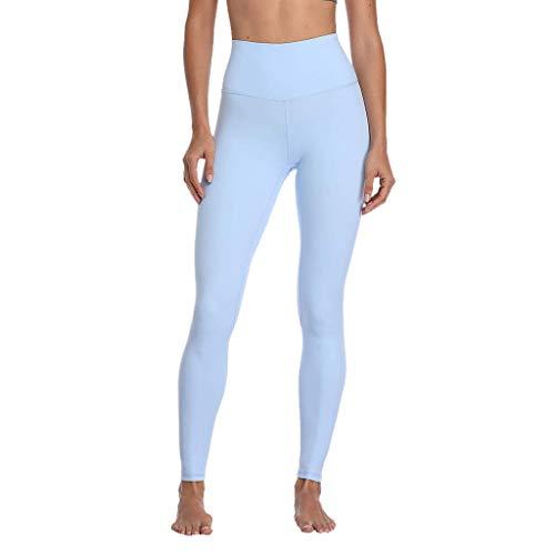 iZZB Pantalons De Yoga Respirants à Taille Haute pour Dames à La Mode pour Dames Pantalon Abdominal pour Filles Legging De Course à Pied (Bleu Clair, S)