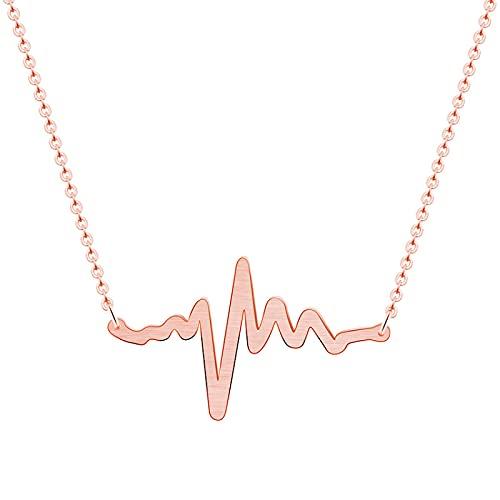 Collar Colgante Cadena Collares Hombre Mujer Collar EKG Heartbeat Collar Acero Inoxidable Enfermera Doctor Joyas Mujeres Clavícula Estetoscopio Médico Heart Beat Wave Collares Pend