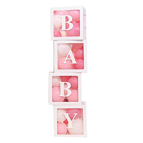Caixas de chá de bebê, decorações para festas, 4 peças transparentes, balões, caixas de decoração com letras, design de blocos de bebê e amor para meninos meninas, decorações para festas de bebê,
