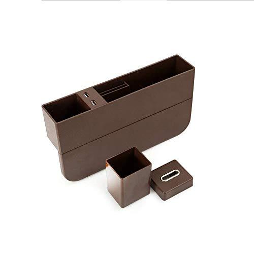 Auto-zitzakken, kleine afmetingen en grote capaciteit, mobiele apparaten laadstation, munt-opbergdoos, geschikt voor verschillende modellen, geeft een sigarettenaansteker bruin