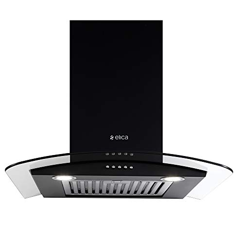 Elica 60 cm 1220 m3/hr Chimney with Free Installation Kit (GLACE SF ETB PLUS LTW 60 PB LED, Baffle Filter, Black)