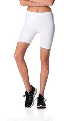 Dykmod Damen Kurze Leggings Shorts Sport Radlerhose mf37, Weiß, 40 (L)