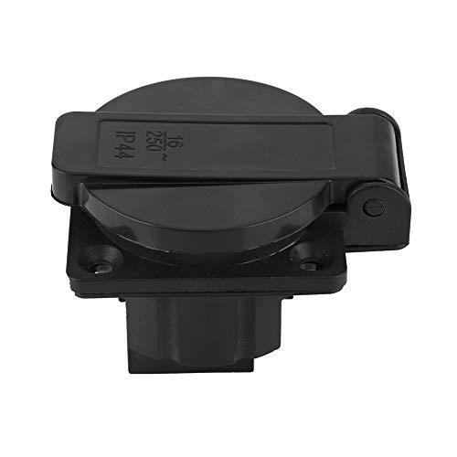 Toma de corriente industrial, montaje en panel, resistente al agua, negro, industrial, eléctrico, hembra, conector de alimentación, 250V 16A