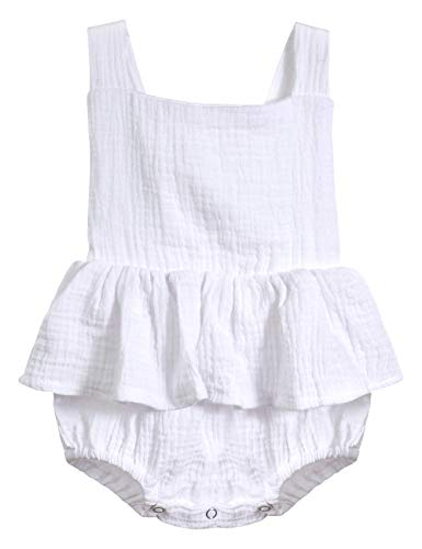 Oklady Infant Newborn Baby Girl Romper Ruffle Cotton Flutter Sleeve One-Piece Bodysuits 6-12 Monrhs White