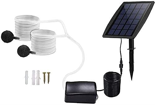 Kit de pompe à air solaire Insertion de la pompe à air de l'eau souterraine Aérateur solaire à l'air avec oxygène Tuyaux Air Stone Ses accessoires Aérateur murmure Pompe à oxygène silencieuse pour la