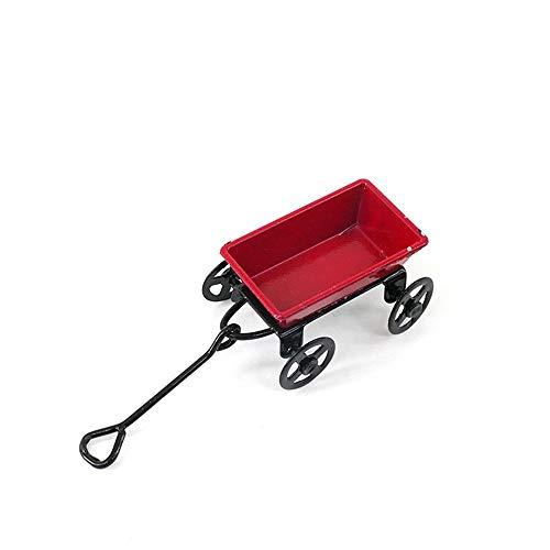MoonyLI Miniature Dollhouse Accessories Minis Miniature Red Toy Wagon ed Toy Wagon 1:12 Scale Miniatures-Metal Wagon