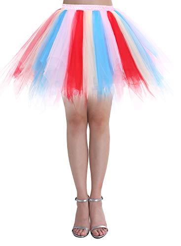 Dressystar Falda de tutú de tul para mujer de la década de los años 50 (15 colores), Primavera-Verano, Asimétricos, Mujer, color Azul Champagne Rojo, tamaño 40