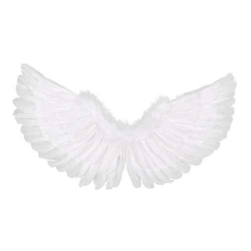 iiniim Alas de Plumas Verdad Angel Diablo Despedidas de Soltera Halloween Fiestas de Disfraces Adulto Grandes 55x35cm / 43x32cm Grande/Pequeño Alas de Lujo (Blanco+Negro) Blanco D 80x40cm