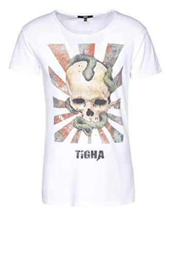 Tigha Herren T-Shirt Snake Skull Wren Weiß XL