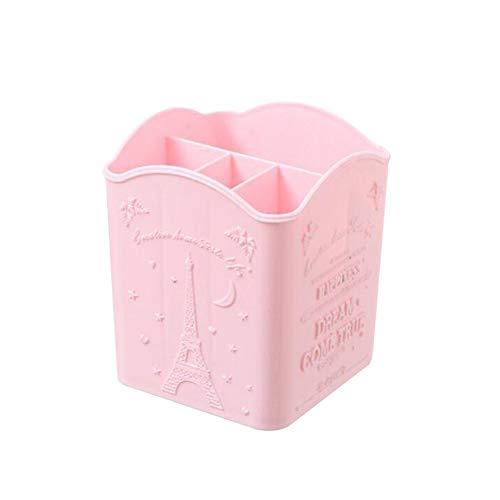 DAHDXD Portable Office Desktop-Pen-Halter-Behälter Kosmetischer Verfassungs-Bürsten-Kasten-Kasten (Color : Pink)