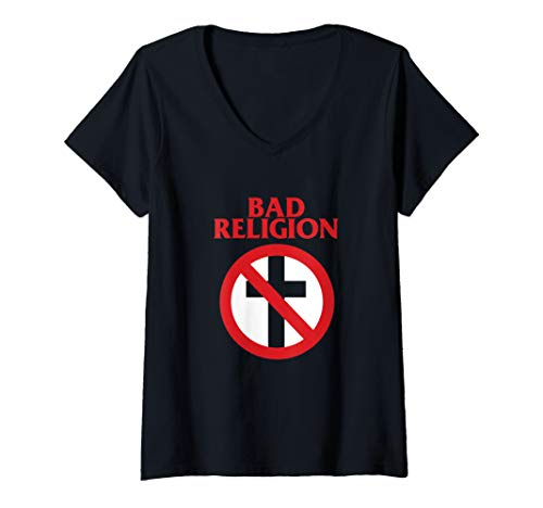 Womens Bad Religion - Crossbuster Punk Logo - Official Merchandise V-Neck T-Shirt