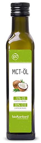MCT-Öl aus 100{fc268c93f5c97deba3fcabcbb3acf2eb9aa65118b4caa17e7e4934892af43731} Bio-Kokosöl 250ml | 70{fc268c93f5c97deba3fcabcbb3acf2eb9aa65118b4caa17e7e4934892af43731} Caprylsäure C8 und 30{fc268c93f5c97deba3fcabcbb3acf2eb9aa65118b4caa17e7e4934892af43731} Caprinsäure C10 | rein mechanisch hergestellt - bioKontor