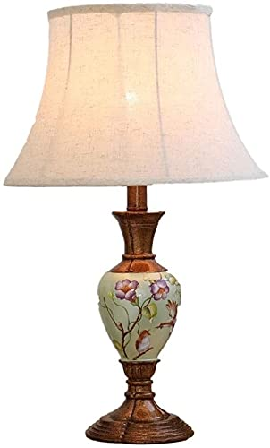 Palm kloset Material de Resina Blanca Tela de Sombra Rosa Brillante patrón de Flores de Mano lámpara de mesita de Noche lámpara de iluminación lámpara de iluminación