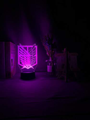 Regalos para niños ilusión 3D LED luz nocturna Wings of Liberty 7 colores cambiantes luz nocturna para habitación infantil decoración lámpara de mesa Att dormitorio luz de ambiente alta