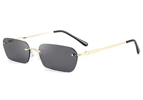 FEISEDY Vintage Gafas de sol Pequeñas y Estrechas sin Montura Rectangulares Fashion Gafas de Sol para Mujeres y Hombres B2643